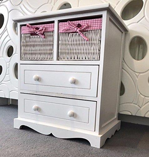 Home Delights Weiss Brust Schubladen Stauraum Weidenkörbe Pink Mädchen Möbel Shabby Chic -