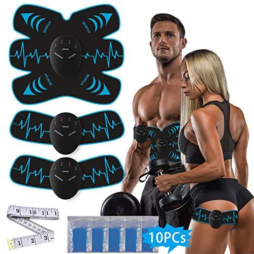 MiMiya EMS Trainingsgerät Muskelstimulation Elektrostimulation Muskel Trainer Muskelstimulator Elektrische Bauchmuskeltrainer für Arm Bauch Beine zur Muskelaufbau Fettverbrennung 10 PC Gel-Auflagen