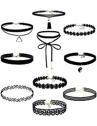 Demarkt 10 Pièces Choker Tour de Cou Collier Ensemble Velours Stretch Tatouage Gothique Classique Collier Dentelle pour Femme