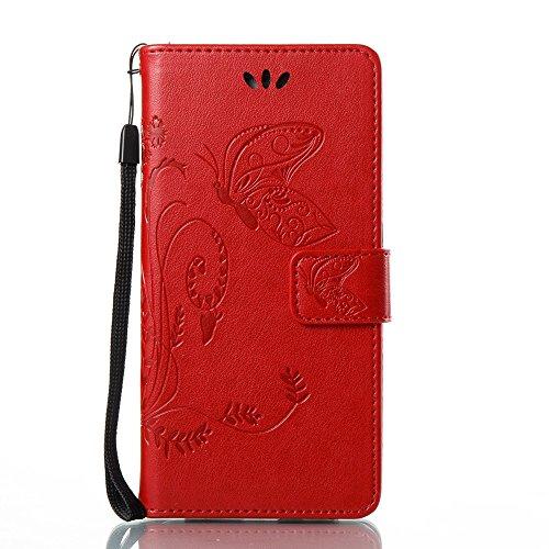 EKINHUI Case Cover Solid Color Faux Leder Bookstyle Brieftasche Stand Case mit geprägten Blumen & Lanyard & Card Slots für Huawei P8 Lite 2017 und P9 LITE 2017 ( Color : Rose red ) Red