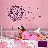 ilka parey wandtattoo-welt® Wandtattoo Wandaufkleber Wandsticker Aufkleber Sticker Pusteblume mit Elfen Feen Schmetterlingen Blumen Punkten Sternen und Wunschtext M2056 - ausgewählte Farbe: *lila* ausgewählte Größe: *XXL - 212cm breit x 200cm hoch*