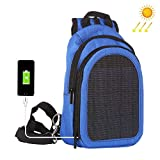 AOLVO Solar Powered Backpack, 5V Solar Charger Backpack With USB Charging Port For
