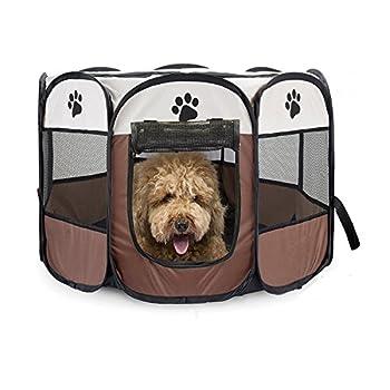 Parc d'animal familier portatif, parc de chiot de chien avec la couverture d'ombre de maille de chenil de 8 panneaux Tissu imperméable d'intérieur / extérieur clôture de tente d'animal familier pour des chiens et des chats (L-Marron)