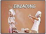 Einladungskarten Einladungen Backen Kindergeburtstag Plätzchen Feier Party 8 Stück Einladung Kekse backen Weihnachtsbacken kuchen