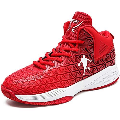 Willsky Herren-Basketball-Schuhe, Performance-Dämpfung-Basketball-Stiefel Leichte Trainings-Turnschuhe,Red,44
