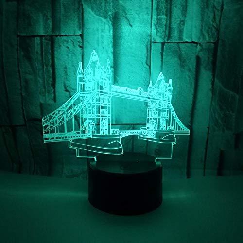 3D Nachtlicht Illusion Lichter Emotion Licht Kinder Lichter 7 Farbe optische Lichter LED Tischlampen Nachttischlampen Weihnachtsgeschenke Home Decor(Brücke) -