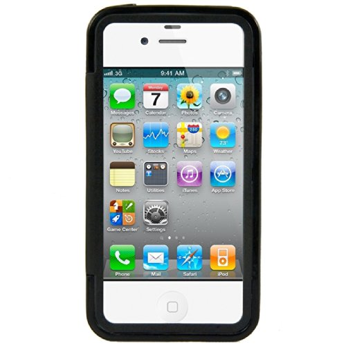 kwmobile TPU Silikon Hülle für Apple iPhone 4 / 4S - Full Body Protector Cover Komplett Schutzhülle Case in Schwarz Transparent .Schwarz Transparent