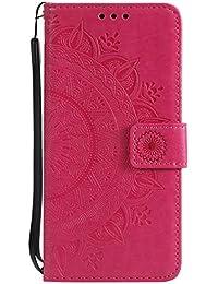 Herbests Handytasche MOTO G6 Lederhülle Mandala Blumen Muster Flip Hülle Klapphülle Ledertasche Bookstyle Cover Brieftasche Schutzhülle Case Handyhülle Leder Tasche,Rot