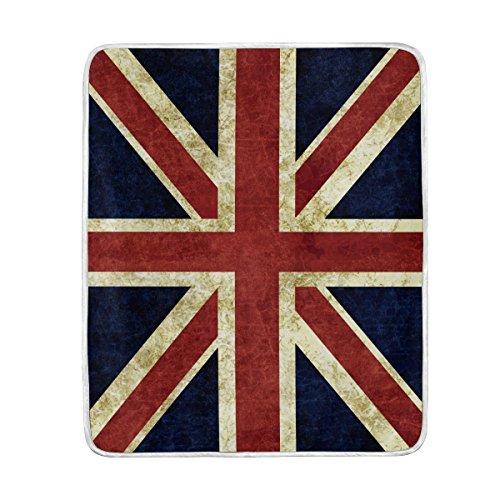 Use7 Home Decor Vintage Flagge von England Union Jack Weiche, warme Decke für Bett Couch Sofa, leicht, für Reisen, Camping, 127 cm x 152,4 cm, Überwurfgröße für Kinder Jungen und Damen (Union Sofa Jack)