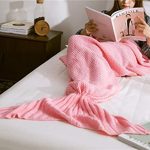 Ashanlan Meerjungfrau Decke Fischschwanz Decke für Mädchen Damen Alle Jahreszeiten 90 * 50 cm (Rosa)
