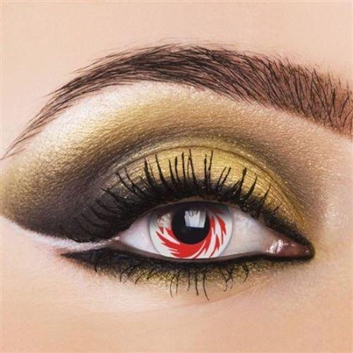 PHANT WHITE TORNADO farbige Kontaktlinsen rot weiss manga cosplay halloween zombie vampire kostüme fashing (Tornado Halloween Kostüme)