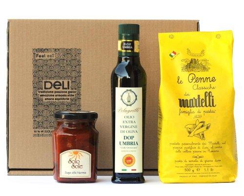 italienischer-delikatessenkorb-n1-penne-pasta-norma-sauce-extra-natives-olivenol-gourmet-geschenkkor