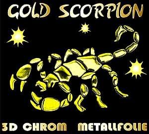 Autocollant 3D signe du zodiaque scorpion graz design autocollants effet chrome/métal, couleur or