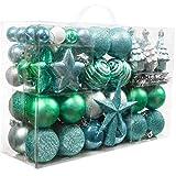 Valery Madelyn 100 TLG 2-13cm Weihnachtskugeln Kunststoff Blau Grün Silber Baumschmuck Christbaumkugeln mit Weihnachtsbaumspitze und passende Aufhänger Weihnachtsdekoration