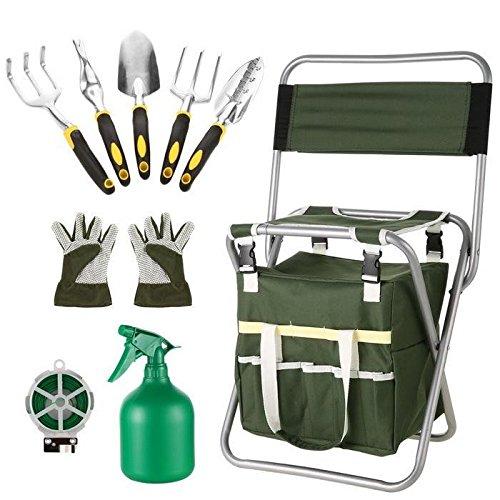 Acecoree 10 in 1 Gartenarbeit Werkzeug Set, Gartenhocker Klapphocker, Gartengeräte Gartenwerkzeug mit Werkzeugtasche,5 Gartenwerkzeuge, Spritzgerät,Bindungslinie (Armee-grün/10 in 1)