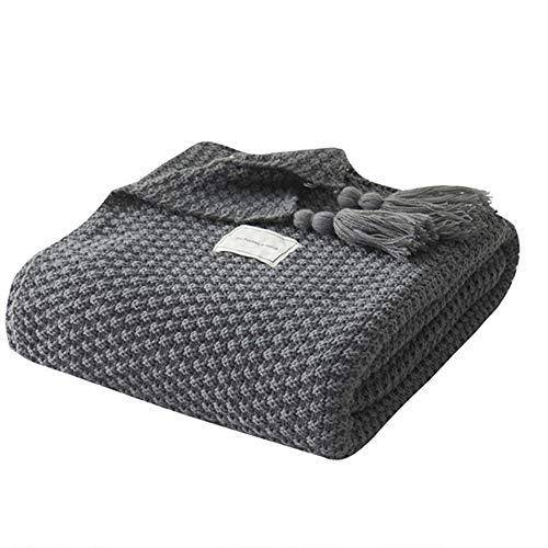 UnvfRg Nordic Handgemachte Strickdecke Fashion Schal Decke Weiche Überwürfe für Sofa Bett Überwurf Decken, grau, 130x170cm