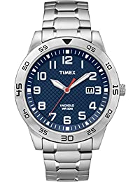 Timex Men's TW2P61500 Quartz Watch with Blue Dial Analogue Display and Silver Stainless Steel Bracelet