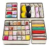 4 Box Pieghevole in Tessuto Organizzatore Cassetti per Biancheria Intima, Reggiseni, Calzini, Cravatte, Accessori [Colore Beige]