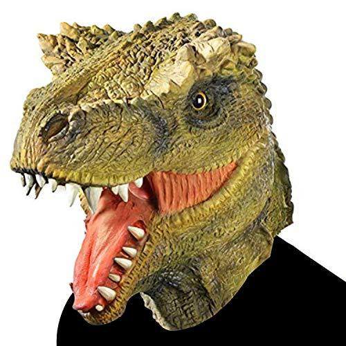 nosaurierkopf Maske Latex Tierkopf Maske Neuheit Schöne Kostüm Lustige Geschenke Halloween Dress Up Requisiten,Green-OneSize ()