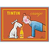 World of Art Affiche publicitaire vintage Motif Tintin et Milou Orange brillant Format A3 250 g/m²