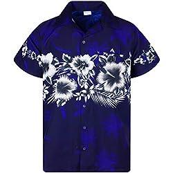 Funky Camisa Hawaiana, Manga Corta, Las Flores, Azul, 3XL