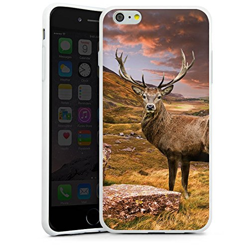 Apple iPhone SE Silikon Hülle Case Schutzhülle Hirsch Landschaft Wiese Silikon Case weiß