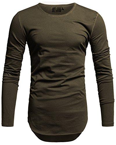 Crone Herren Langarm Shirt Longsleeve Slim Fit T-Shirt Leicht Oversize Basic Sweatshirt mit aufwändiger Öl (XL, Oliv Grün) (Oliv-grünes T-shirt)