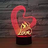 Love Heart 3D Nachtlicht LED Tischlampe Illusionslampe 3D Romantische Party Atmosph