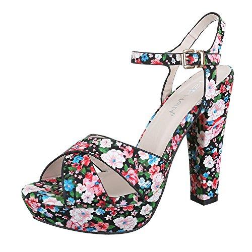 High Heel Sandaletten Damen Schuhe Plateau Pump High Heels Schnalle Ital-Design Sandalen / Sandaletten Schwarz Multi NBBxwSXe