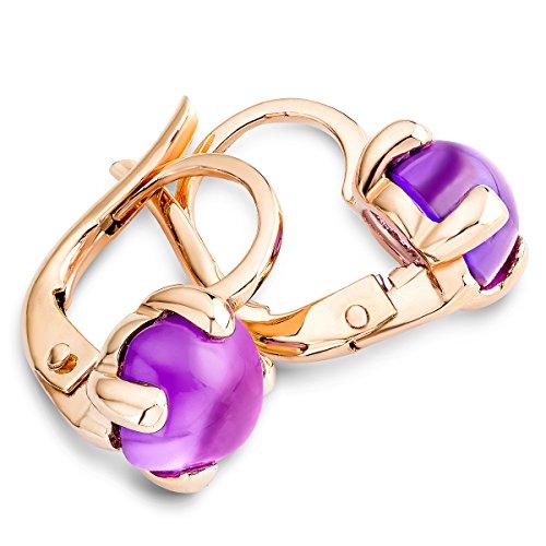 Miore - Boucles d'oreilles - Or rose Purple Quartz