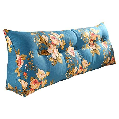 Bett Soft Pack Dreieck Kissen Baumwolle Leinwand Rückenlehne Tatami Sofa Kissen waschbar Lenden ( Color : Blue , Size : 120*50*20cm ) (120 Leinwand Gebogene)