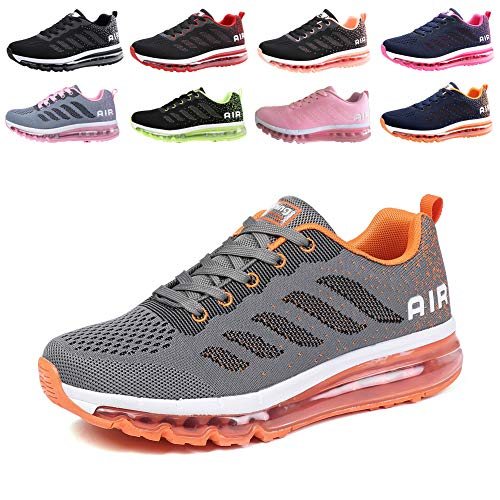 populalar Herren Damen Turnschuhe Laufschuhe Sportschuhe Straßenlaufschuhe Sneakers Atmungsaktiv Trainer Running Fitness Gym Outdoor Leichte Grey Orange 43