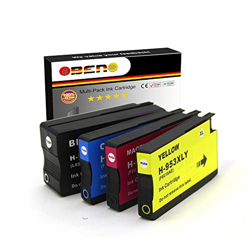 OBENO - 1Set - 953XL 4pack reemplazo compatible cartuchos de tinta para HP OfficeJet Pro 8710 8720 8633 8728 8730 8740 7740 8218 8715 8718 8719 impresoras (1 negro, 1 cian, 1 magenta, 1 amarillo)