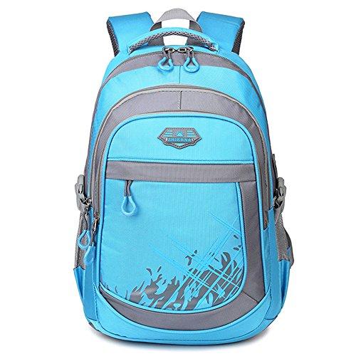 """5 ALL Rucksack 3 Fächer Groß 15,6""""Laptop Schulrucksack Daypack Schulranzen für Damen Herren Jungen Mädchen Kinder (Hell Blau)"""