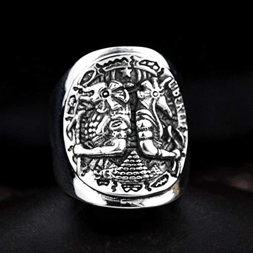 kaige Ring S925 Sterling Silber Mann Persönlichkeit Punk Antike ägyptische Anubis Reisenden Münze Ring Geschenk zu Lieben, Feriengeschenk