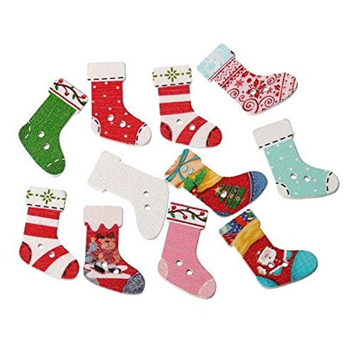 Painted Wooden Buttons Wooden Buttons Colorful Mixed Printing Two Buckle Christmas Stockings ()