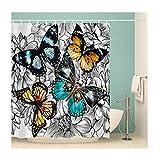 Daesar 3D Lustiger Duschvorhang 150x180 Bunten Schmetterlingen Duschvorhang Antischimmel aus Polyester-Stoff