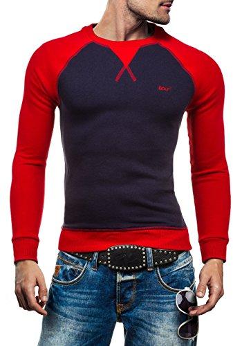 BOLF Herren Pullover Sweatshirts Pulli ohne Kapuze MIX Dunkelblau_74