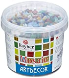 Rayher 1453049, Set tessere per mosaico, tasselli in vetro, piastrelle ideali per decorazioni e fai da te, 1x1 cm, ca. 1300 pz, colori assortiti.