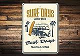 Dozili Surfer sur Internet Cadeau Surfeur Sign Surfeur Cadeau Surf Jours Sign Surf Van Sign Planche de Surf Surfer sur Internet Décor Décor Surf des Signes de qualité en métal 20,3x 30,5cm