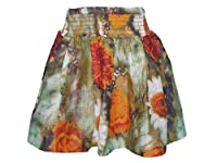 Girls Floral Print Lined Cotton Skirt (4-5 years, Orange)