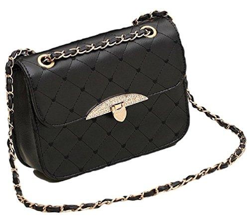 Gesteppte Handtasche Kunstleder Vintage Stil Abend Tasche Herzen Goldkette (Schwarz) (Schwarze Tasche Handtasche Abend)