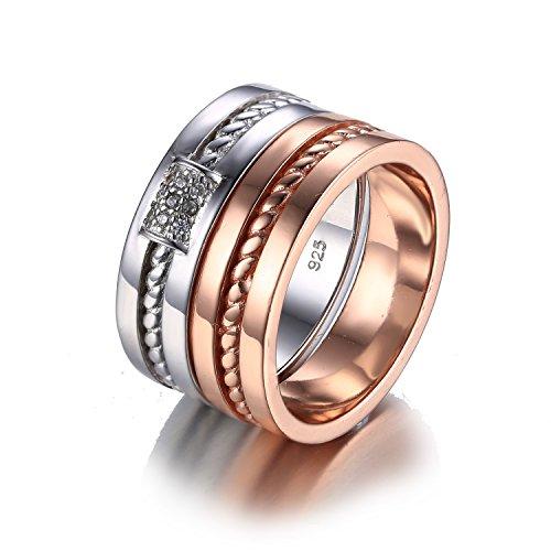 Jewelrypalace 0.05ct Kubik Zirkonia Und Galvanotechnik 18K Gold Partner Verlobung Trauung Hochzeit Braut Band Silberring Ring Set 925 Sterling Silber Damen (Hochzeit 18k Gold Band)