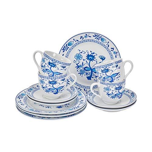 Kaffee-Service Classic 12 Teile im Set, 4 Personen, Porzellan blau weiß, Porzellangeschirr,...