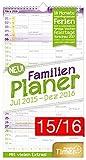 FamilienPlaner 2016 Wandkalender, Chäff-Timer, 5 Spalten, 22,5 x 42cm, 18 Monate bis Dez 2016