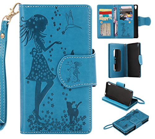 Sony Xperia XA Case Leather [Cash and 9 Card Slots], Cozy Hut Elegant Woman and cat Patterned Embossing PU Leather Stand Function Protective Cases Covers with Card Slot Holder Wallet Book Design Fordable Strap Case for Sony Xperia XA/F3116 5.0 Inch - blue