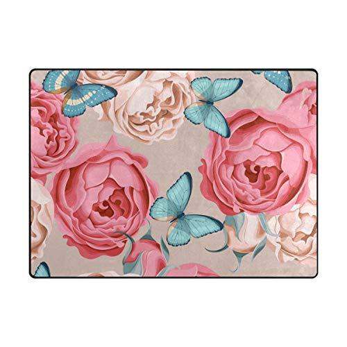DEZIRO Tapis de Sol antidérapant, Motif Papillons et Fleurs, Polyester, 1, 80 x 58 inch