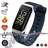Bluetooth Smartwatch Fitness Uhr Intelligente Armbanduhr mit Schrittzähler Herzfrequenzmesser Schrittzähler Schlaftracker Kompatibel mit iOS Android Smartphone (Blau)