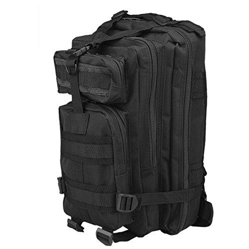 30L Mochila de Marcha Deportivo Exterior Militar Impermeable Molle con Muchos bolsillos para Acampada Camping Senderismo Deporte Backpack de Asalto Patrulla para Hombre Mujer Negro