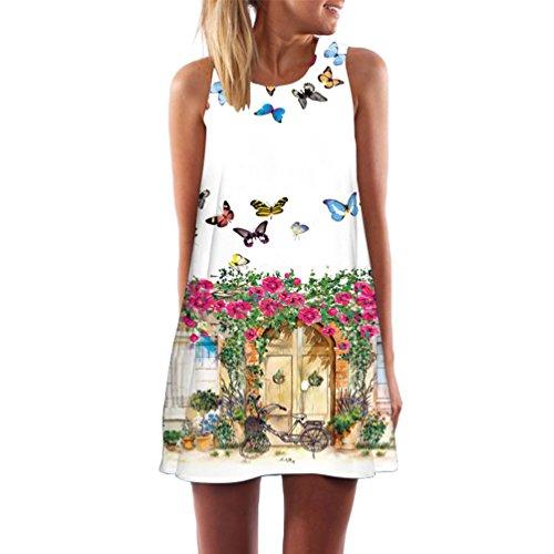 WanYang Damen Frauen Sommer Ärmellos Drucken Kleider Sommer Kleid Strand Kleid Lose Mini Kleider(Weiß etwas transparent) Zuhause_031